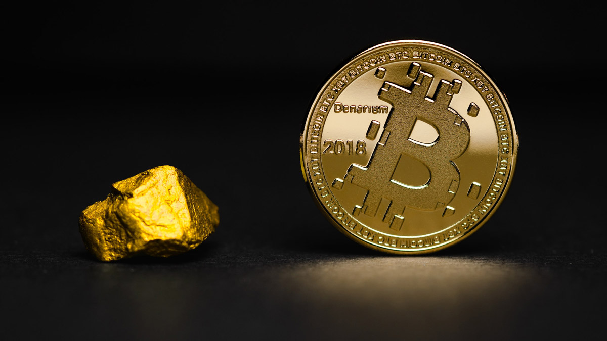 Gold nugget and bitcoin